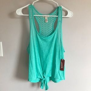 Tie front turquoise tank top with lace back